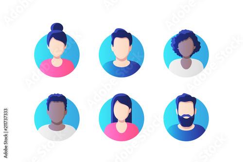 Fotografie, Obraz Avatar profile picture icon set including male and female