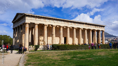 Deurstickers Oude gebouw Beautiful blue clouds and iconic Temple of Hephaestus one of the best preserved temples in Greece, Ancient Agora, Athens historic center, Attica, Greece