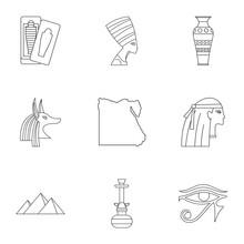 Pharaon Of Egypt Icons Set. Outline Set Of 9 Pharaon Of Egypt Vector Icons For Web Isolated On White Background