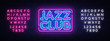 Jazz Club neon sign vector. Jazz Music design template neon sign, light banner, neon signboard, nightly bright advertising. Vector illustration. Editing text neon sign