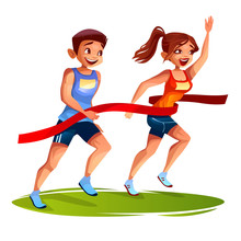 Runners On Finish Line Vector Illustration Of Young Man And Woman On Sport Marathon Or Sprint Running. Girl First Winner With Raised Hand At Red Ribbon Over Runner-up Boy