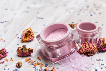 Obraz na płótnie Canvas lavender body care products. Aromatherapy, spa and natural healthcare concept