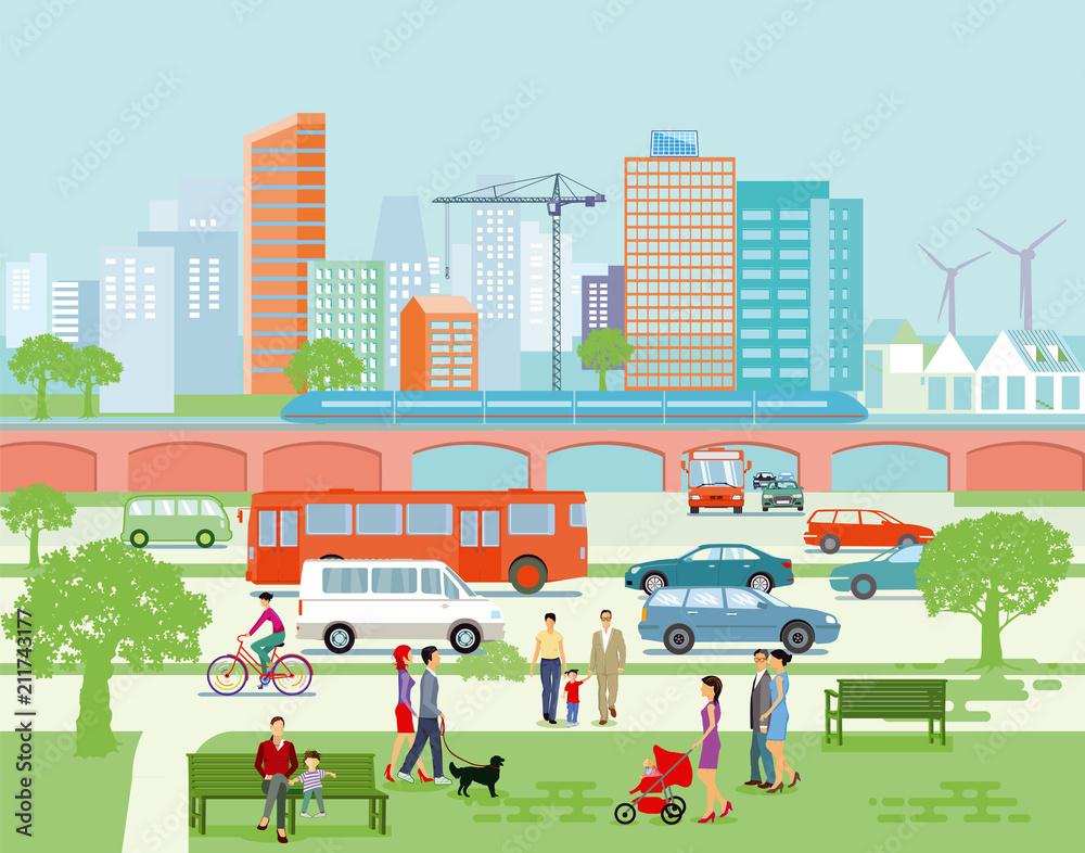 Fototapeta Großstadt Panorama mit Straßenverkehr und Fußgänger