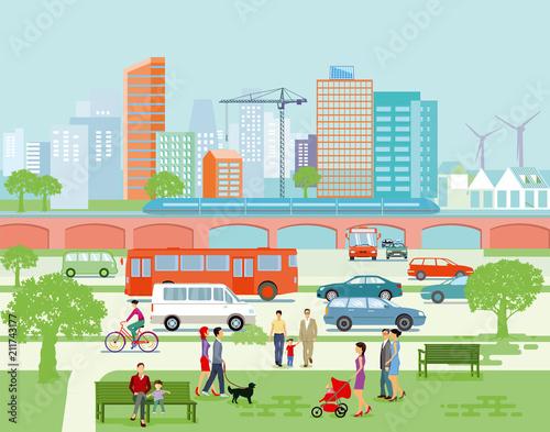 Obraz Großstadt Panorama mit Straßenverkehr und Fußgänger - fototapety do salonu