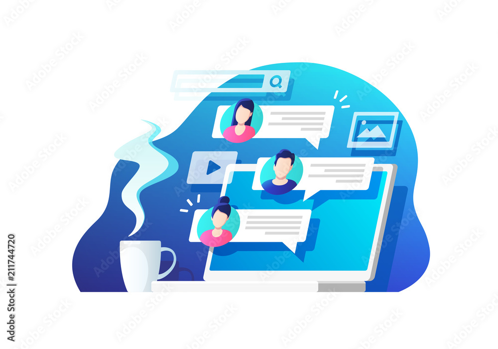 Fototapeta Communication, dialog, conversation on an online forum and internet chatting concept. Vector illustration.