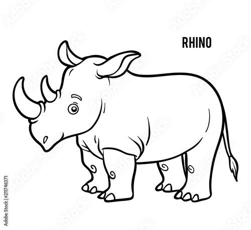 Fotografie, Obraz Coloring book, Rhino