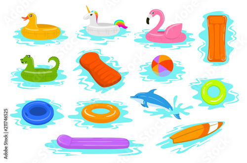 Fotomural summer time beach sea vacation holidays inflatable floats rings tubes mattress s