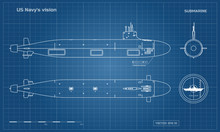 Blueprint Of Submarine. Military Ship. Top, Front And Side View. Battleship Model. Industrial Drawing. Warship In Outline Style