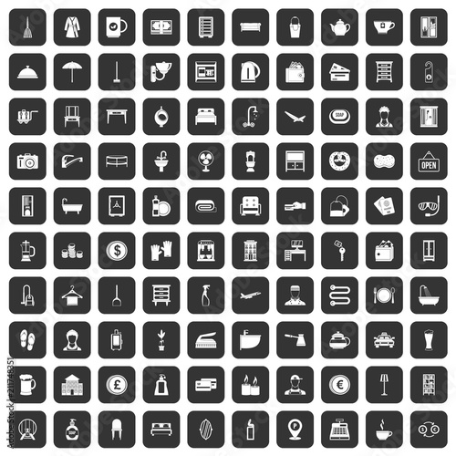 Photo 100 inn icons set in black color isolated vector illustration