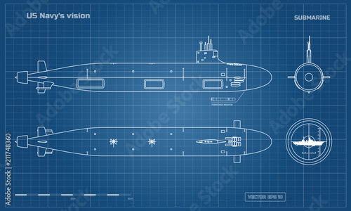 Blueprint of submarine Wallpaper Mural