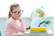 Bored Child In Eyeglasses Look...