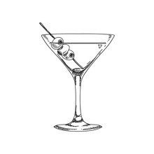 Vector Hand Drawn Coctail Illustration