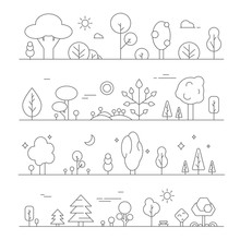 Landscapes With Plants. Vector...