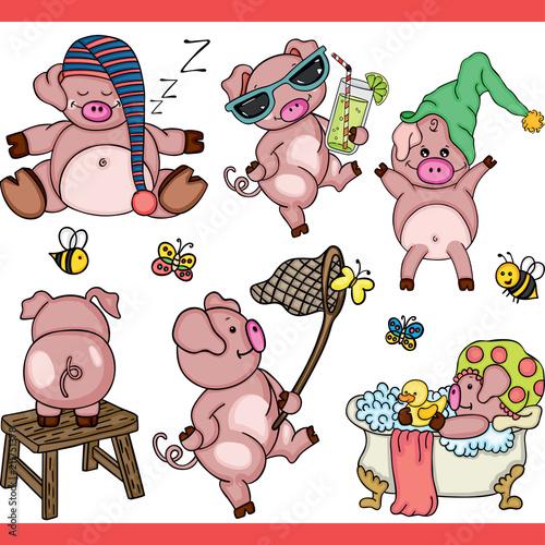 Deurstickers Pig set digital elements