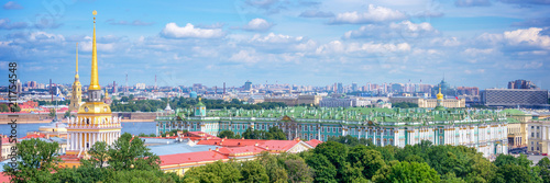 Aerial panoramic view of Admiralty tower and Hermitage, St Petersburg, Russia Canvas Print
