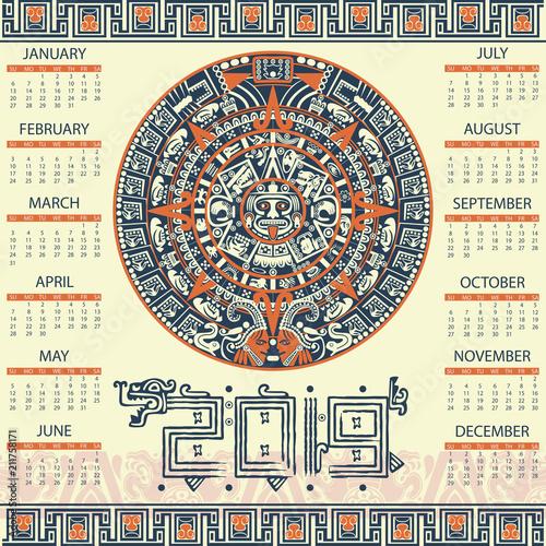 Obraz na plátně Aztec calendar 2019