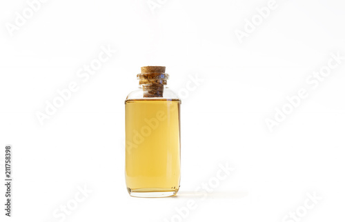 Photo  Small Bottle Filled With Homemade Drink, Isolated On White Background