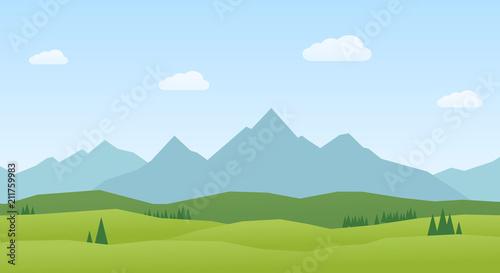 Fotografija Vector Landscape mountains and hills flat design