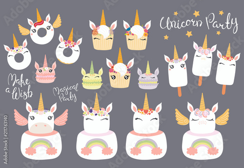 Printed kitchen splashbacks Illustrations Big set of different desserts with cute funny unicorn faces, horns, ears, wings, lettering quotes. Isolated objects on gray background. Vector illustration. Flat style design. Concept children print.