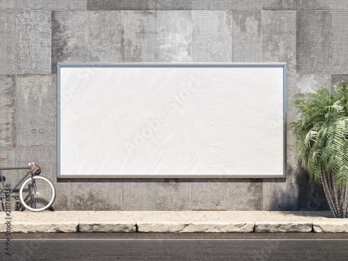 Obraz Outdoor Poster frame Mockup. 3d illustration - fototapety do salonu