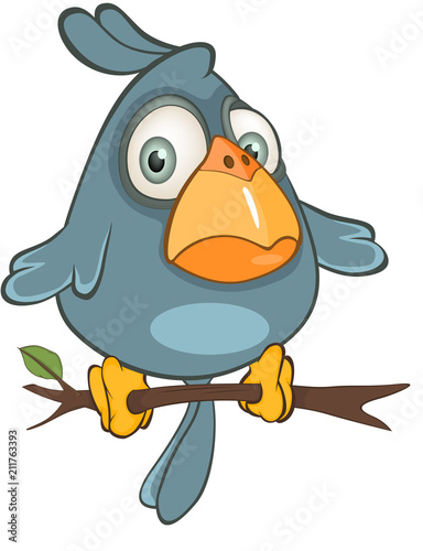 Spoed Foto op Canvas Babykamer Illustration of a Cute Blue Bird Cartoon Character