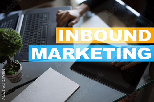 Poster New York Inbound marketing text on virtual screen. Business and technology concept.