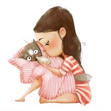 Cute Cartoon Girl With Cat