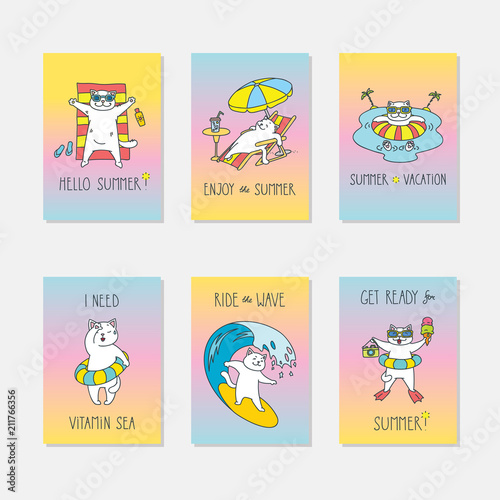 Set Of Summer Cards With Cute Cats On Vibrant Gradient Backgrounds Can Be Used As Party Flyers Banners Posters Invitations Brochures And More Vector Template Illustration Eps 8 Buy This Stock