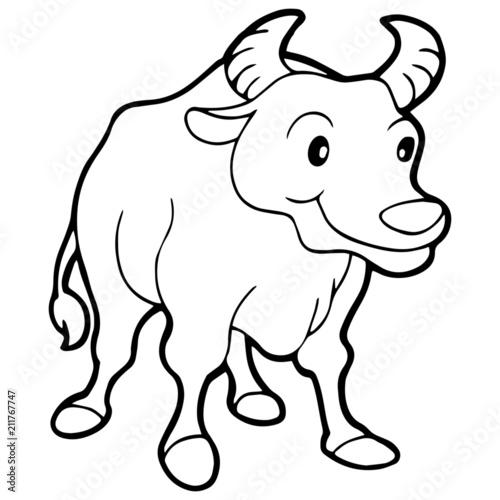 Tuinposter Doe het zelf Buffalo cartoon illustration isolated on white background for children color book