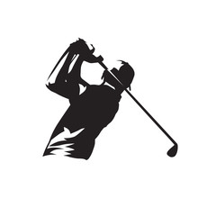 Golf Player Logo, Isolated Vector Silhouette
