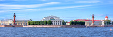 Panorama Of The Neva River With The Stock Exchange, St Petersburg, Russia