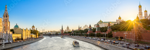 Panorama of the Moskva river with the Kremlin's towers at sunset, Moscow, Russia