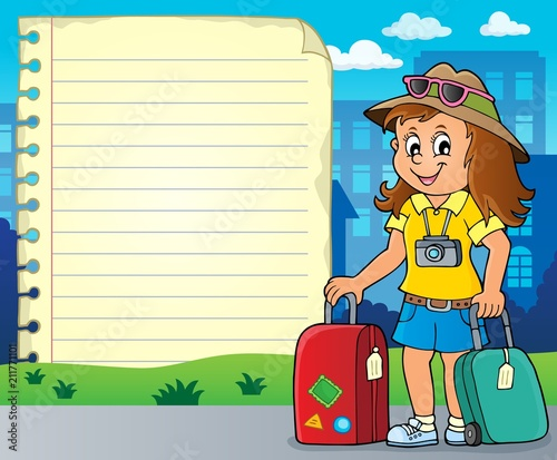 Foto op Canvas Voor kinderen Notepad page with happy tourist woman