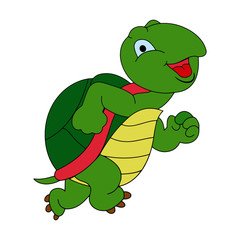 Turtle cartoon illustration isolated on white background for children color book