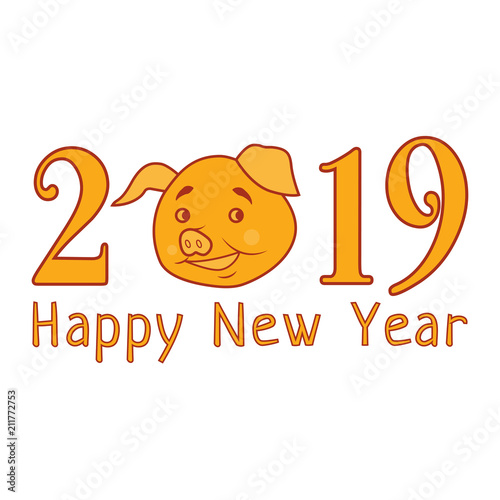 Vector 2019 Happy New Year Text With Funny Pig Chinese Symbol Of