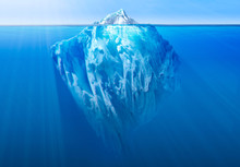 Iceberg In The Ocean With Visible Underwater Part. Global Warming Concept. 3D Illustration