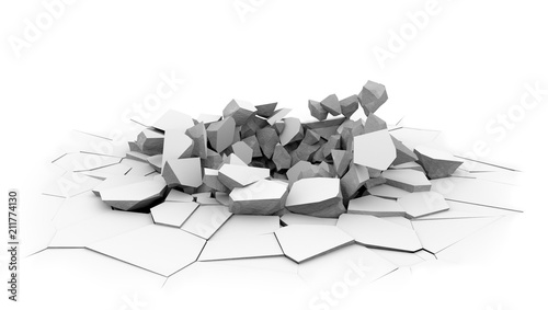 Fotografie, Obraz  Concrete slab floor shell hole