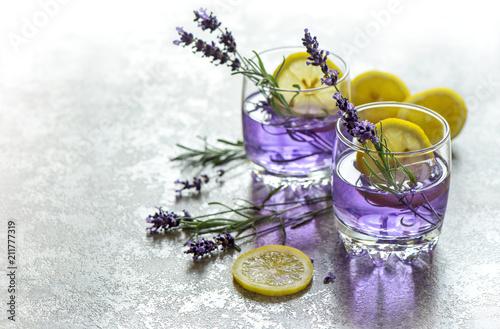 Fresh drink lemon lavender flowers summer lemonade