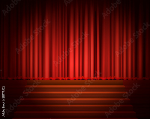 In de dag Theater Red Curtain with a Spotlight and Stair