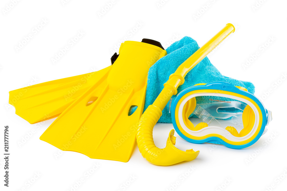 Fototapeta Diving equipment goggles,snorkel and flippers on white background.