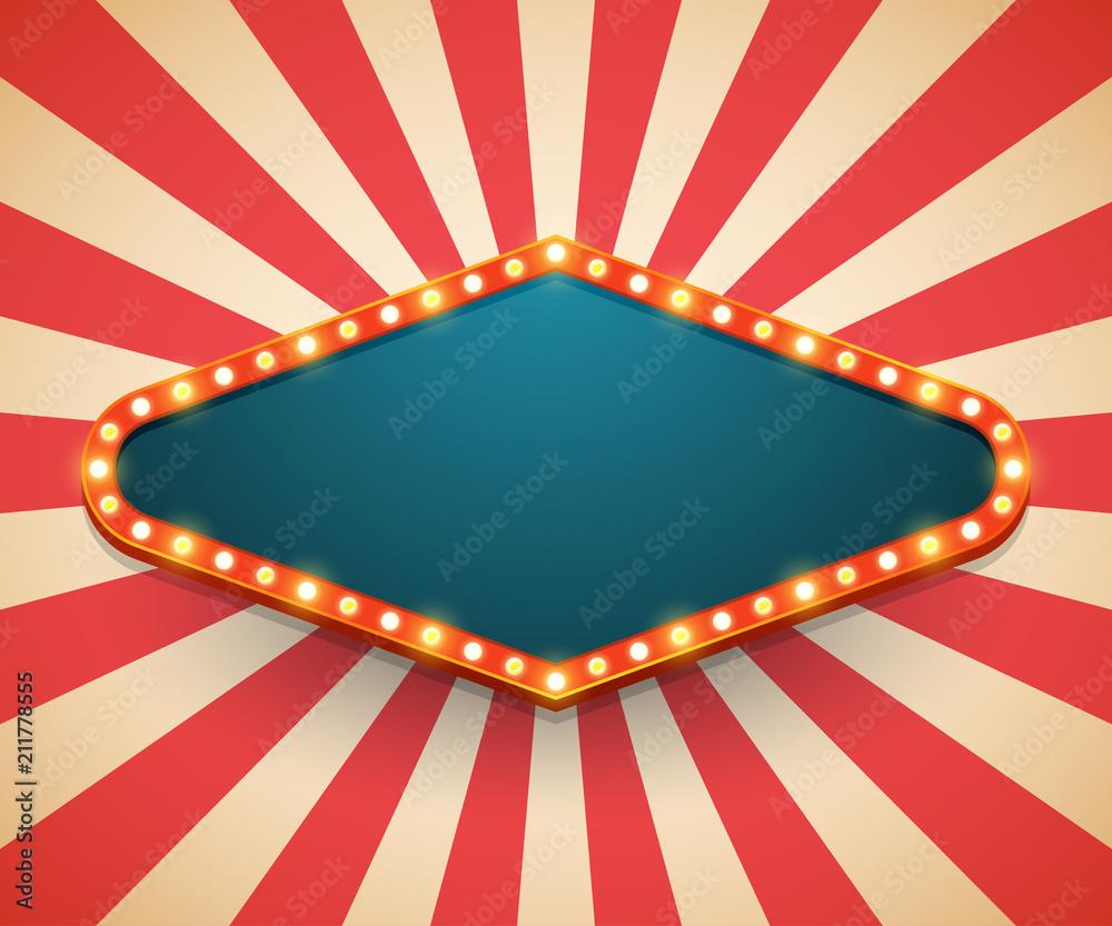 Fototapety, obrazy: Light frame shining retro billboard. Casino poster vintage style. Vector illustration