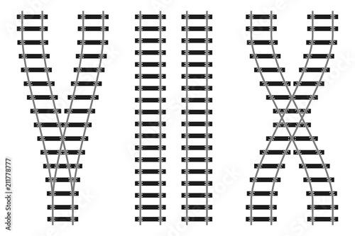 Fotografía Railway train road rails constructor elements vector illustration