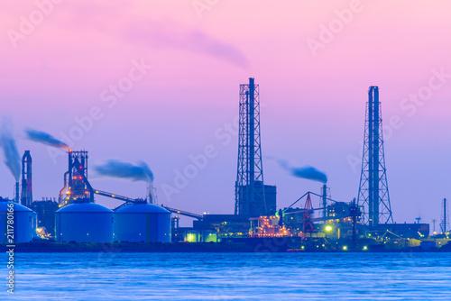 Spoed Foto op Canvas Purper 関門海峡の夕暮れ