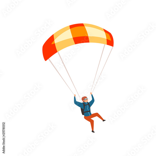 Fototapeta Skydiver flying with a parachute, parachuting sport and leisure activity concept