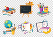 Flat vector set of compositions with objects related to education theme. Back to school