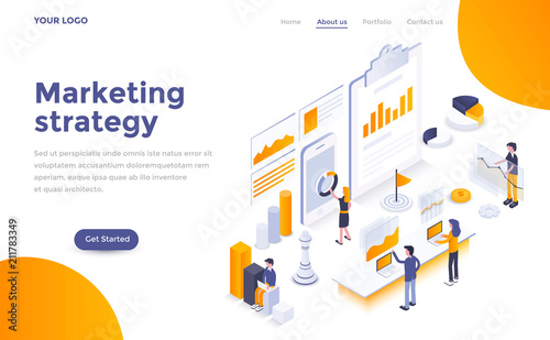 Flat color Modern Isometric Concept Illustration - Marketing strategy Wallpaper Mural