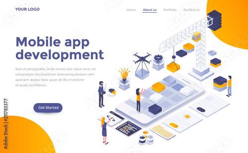 Flat color Modern Isometric Concept Illustration - Mobile app development Canvas Print