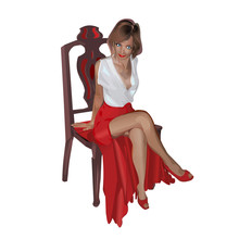 Woman In Red Dress Sitting On A Chair Vector Illustration