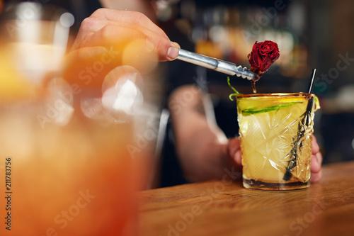 Valokuva  Preparing Cocktails. Bartender Making Cocktail In Bar