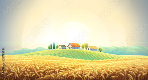 Rural landscape with a wheat field and a village on a hill.